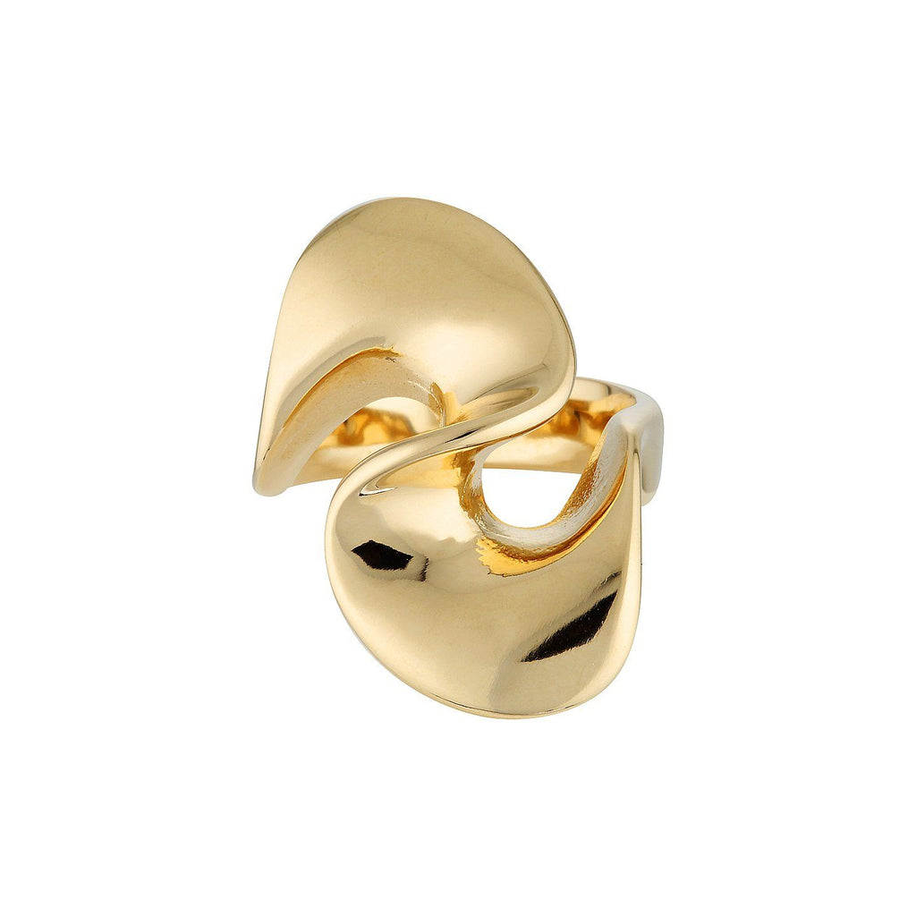 Product photo of sterling silver ring in gold that features a large knot shape.