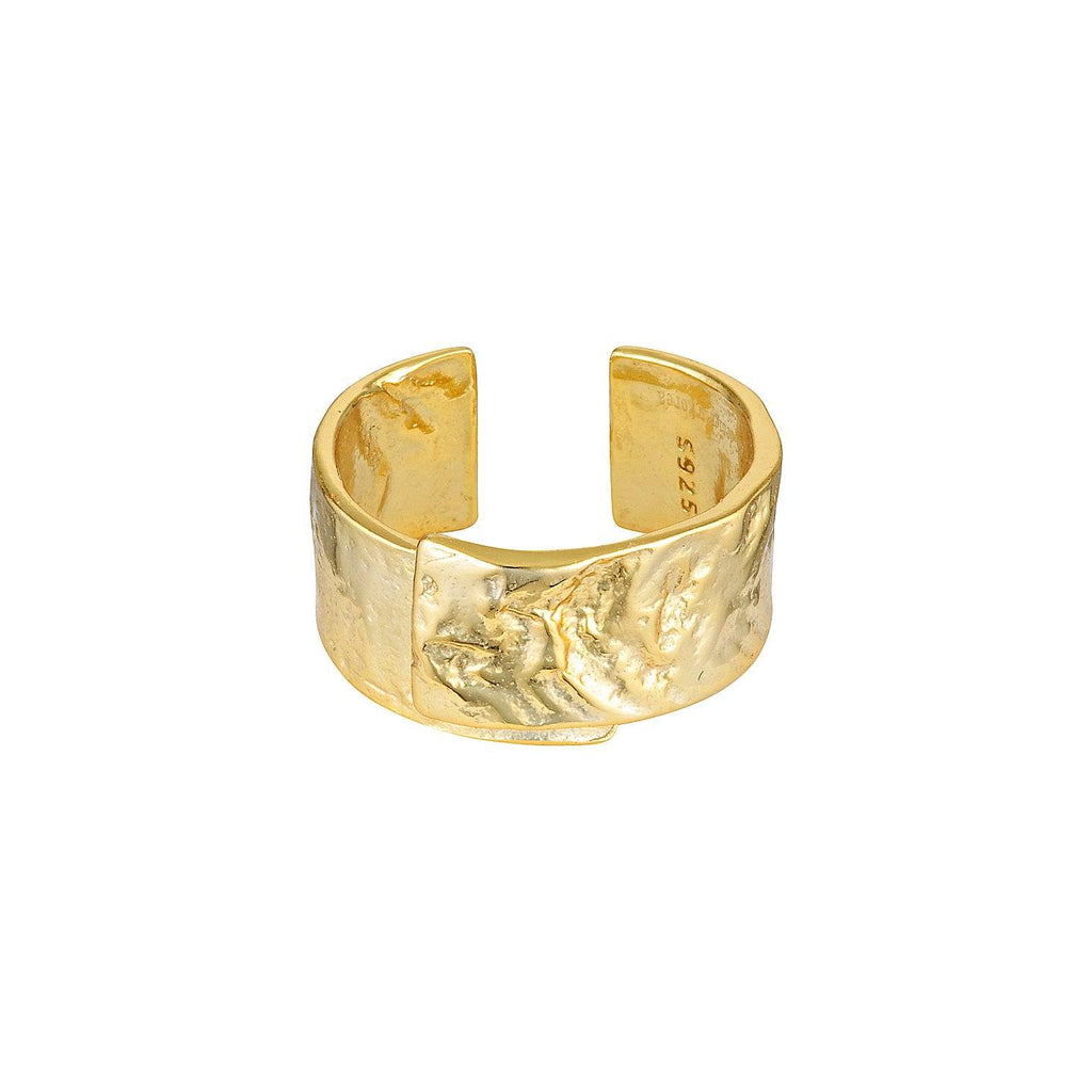 Stock image of gold, adjustable ring with textured finish.