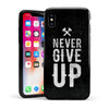 Black Hammered Never Give Up - Swappable Series iPhone Case