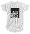 Hard Work Beats Talent - Matte Black Block Logo // Fitted Long-Line T-shirt