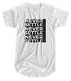 Never Settle - Matte Black Block Logo // Fitted Long-Line T-shirt