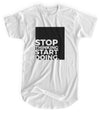 Stop Thinking Start Doing - Matte Black Block Logo // Fitted Long-Line T-shirt
