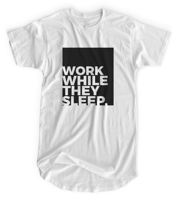 Work While They Sleep - Matte Black Block Logo // Fitted Long-Line T-shirt