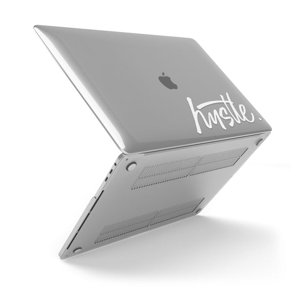 Hustle (White) // Crystal Clip-On MacBook Case