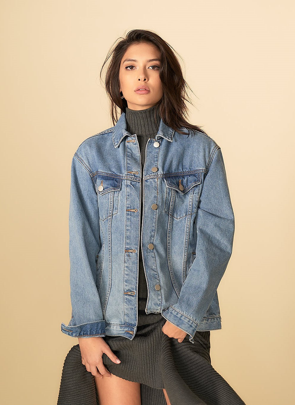 Anastasia Denim Girlfriend Jacket Midwash Blue
