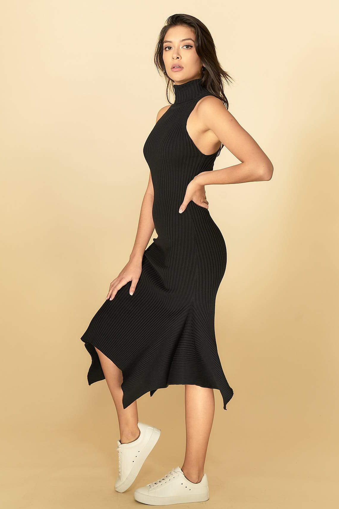 Alexa Midi Knit Dress Black