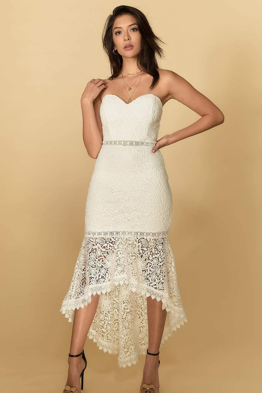 Aria Lace Midi Dress White