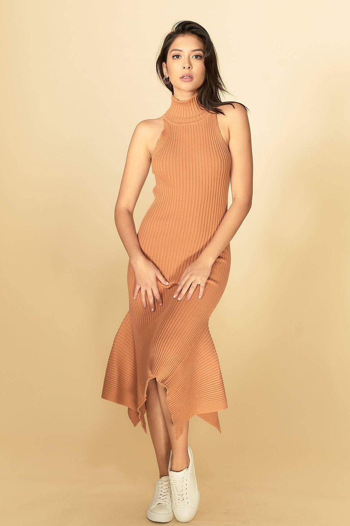 Alexa Midi Knit Dress Coral