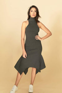 Alexa Midi Knit Dress Grey