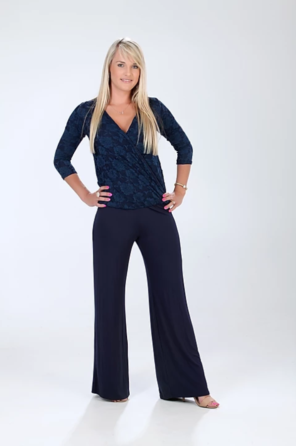 Navy lace cross-over jumpsuit