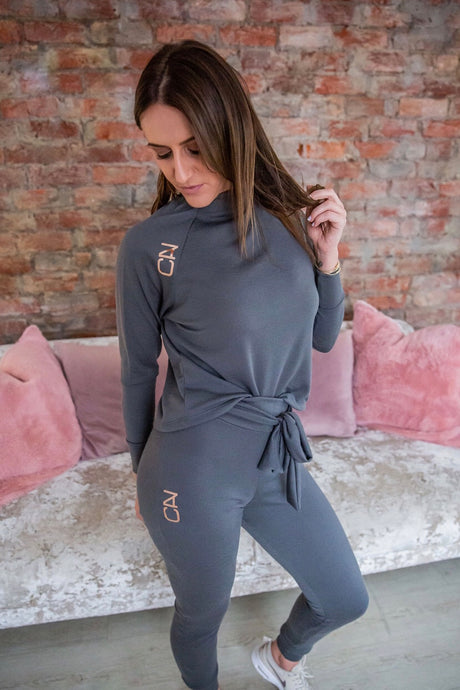 Charcoal Knit jersey and jogger Lounge set - Style 360