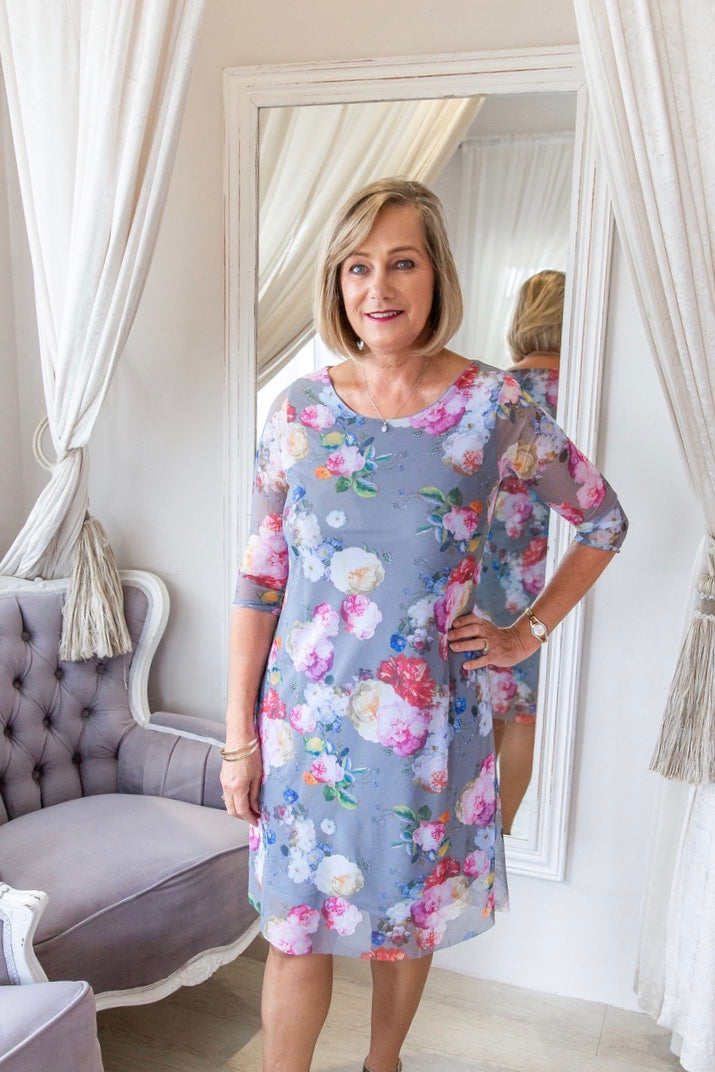 Dove grey Floral mesh dress - Style 358