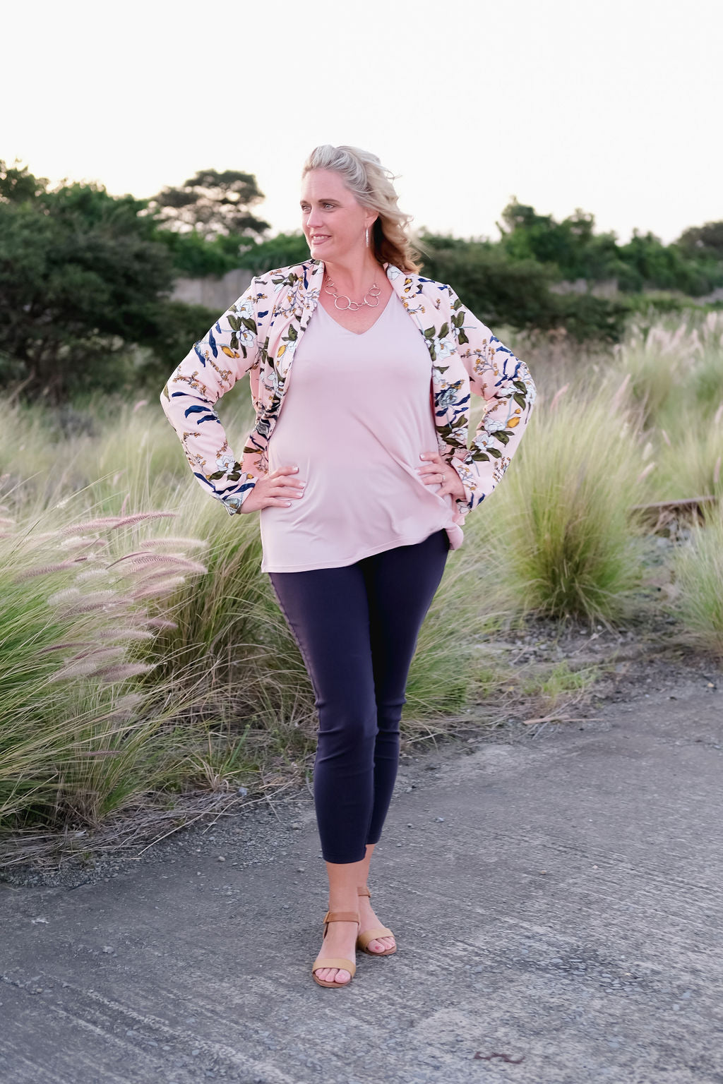 Boutique Style 294 Blush Pink V-neck top