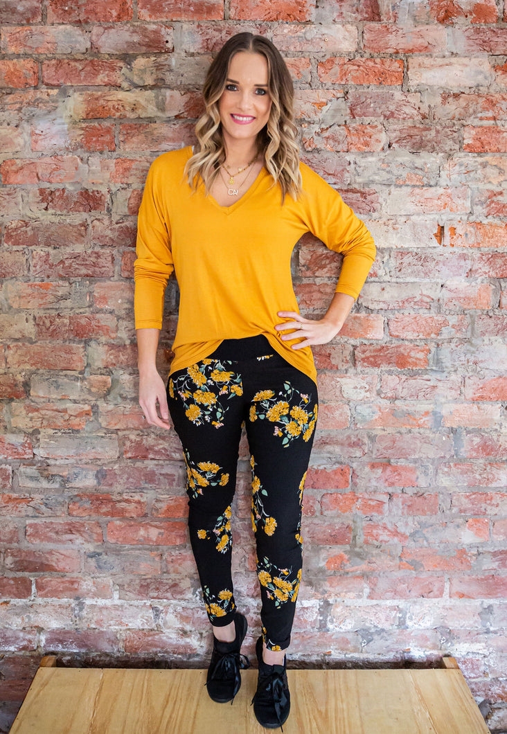 Mustard Floral print 3 piece set - style 341