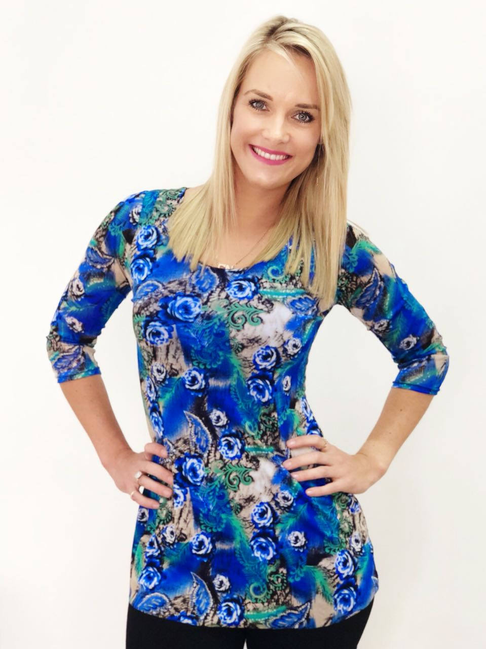 Royal Blue Peacock Print Mesh Overlay Top - CAN