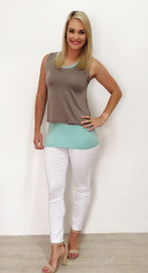 Duck-egg & Taupe Breastfeeding Overlay Top