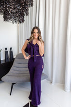 Melange purple knit flared pants - Style 371