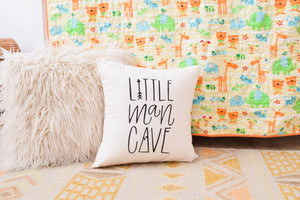 Little Man Cave, Nursery Pillow, Mountain, Arrow, Adventure, Explore, Forest Theme, Hand drawn, 16 x16, Trees, Handwritten