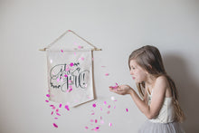 It's a GIRL Gender Reveal Baby Girl Photo Prop Sign Flat Lay Baby Announcement Pennant Flag Floral Baby Shower Door Hanger