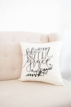 Bloom With Grace Floral Nursery, Baby Girl, Babe Cave, Christian , Pillow, 16 x16, Handwritten, Motivational Quote, Craft Room