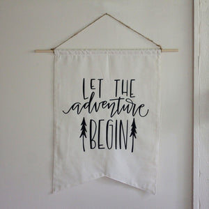 Baby Announcement Adventure Theme LARGE Baby Shower Flag Party Backdrop Let The Adventure Begin