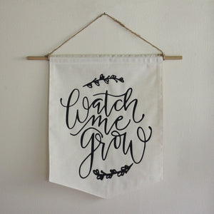 Watch Me Grow Girls Room Baby Nursery Pennant Flag Flower Floral Nursery Bunting Black & White
