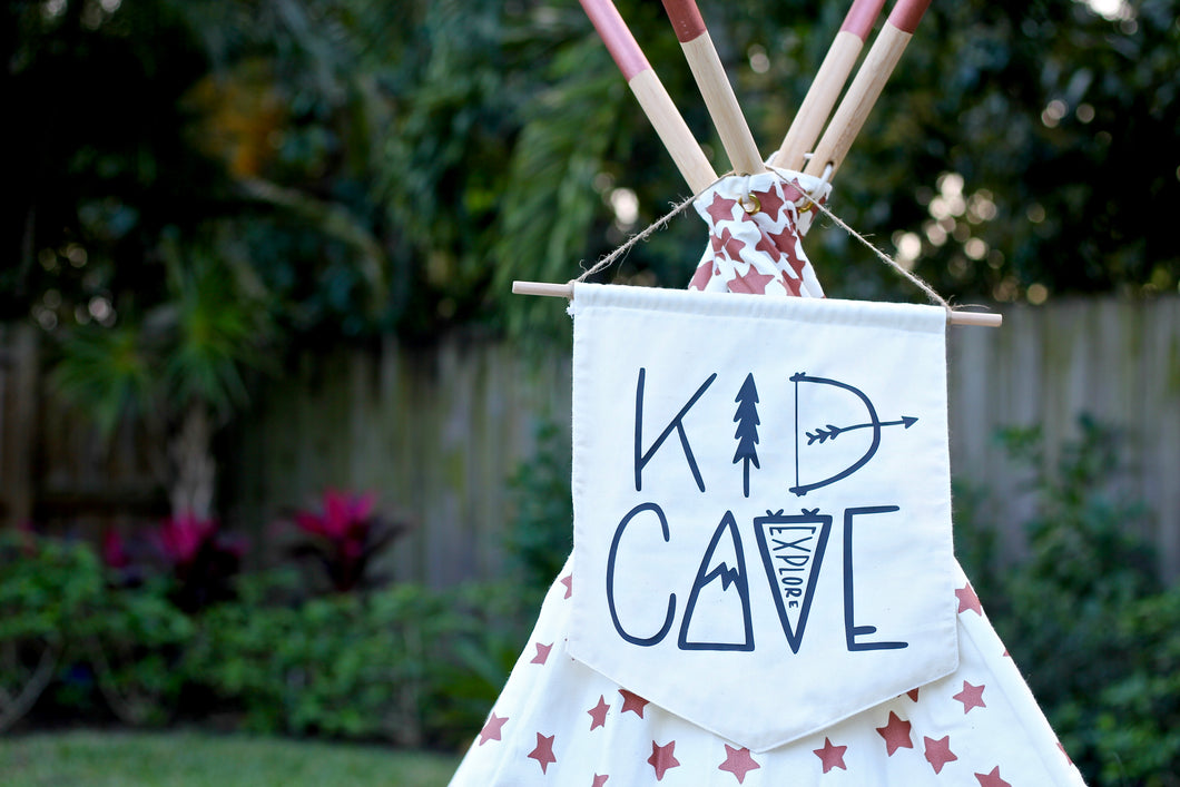 KID CAVE Playhouse Play Room Tipi Flag Door Hanger Nursery Pennant Banner Unisex Baby Room Bunting Black & White