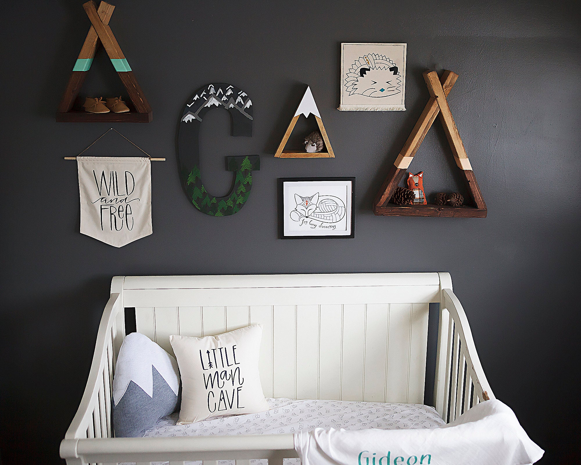 WILD AND FREE Modern Nursery Pennant Banner Unisex Baby Room Bunting Black White