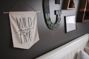 WILD AND FREE Modern Nursery Pennant Banner Unisex Baby Room Bunting Black & White