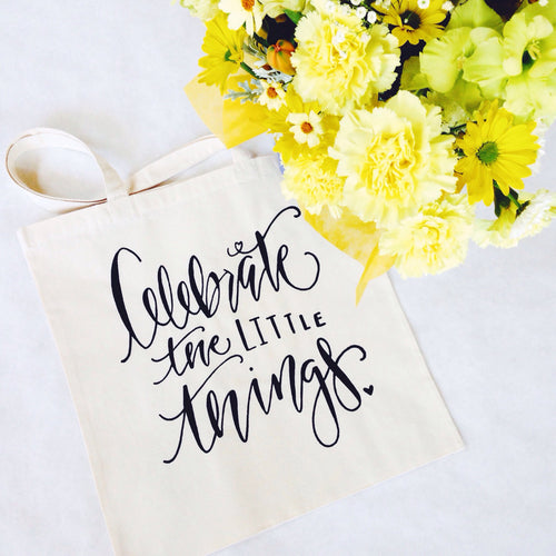 Celebrate the Little Things Gift Bag or Favor Everyday Tote Bag Swag Bag USA Cute Gift for Her