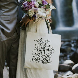 Wedding Photo Prop Bride & Groom You Put The Happily In My Ever After Anniversary Bridal Bag Engagement Anniversary Gift