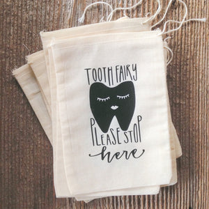 Tooth Fairy Bag Handwritten Hand Drawn Fun Kids Gift to Hide Under Pillow Drawstring