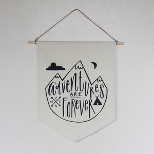 Adventure Nursery Boys Room Woodland Bunting Black & White Tipi Mountains Forest Nature