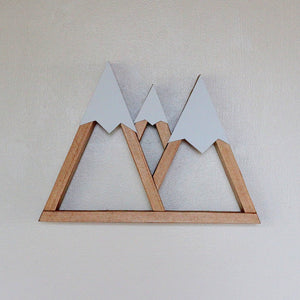 Mountain Shelf, Triple Mountain, Three Sisters, Oregon, Room Decor, Snow Peak Mountain, Forest, Reclaimed Wood, Triangle, Geometric