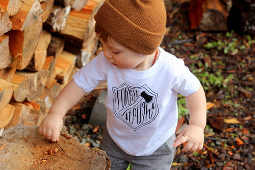 Forest Tough Baby Lumberjack Baby Tee Shirt Camping Forest Axe Woodsman Cabin Life Adventure Boy 1st Birthday 6MO 12MO 18MO 24MO