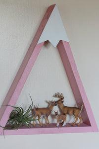 PINK Mountain Shelf, Wood Shelf, Nursery Decor, Girls Room, Snowy Mountain, Girls, Reclaimed Wood, Triangle, Geometric