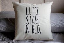 Let's Stay In Bed Hand drawn Nursery Pillow 16 x16 Handwritten Sleepy New Parents Sunday Feels