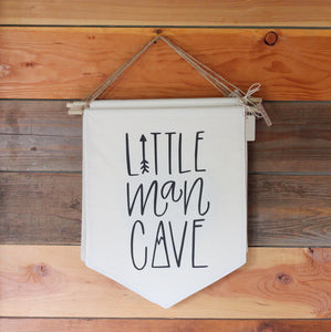 Little Man Cave Pennant Flag Mountain Baby Nursery Boys Room Bunting Black & White Navy Blue Forest Nature