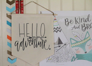 HELLO ADVENTURE, Pennant Flag, Mountain, Baby, Nursery, Boys Room, Bunting, Black & White, Forest, Nature, Arrows, Woodland