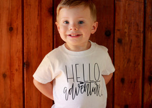 Hello Adventure Baby Nature Boys Shirt Camping Hiking Outdoorsman Lumberjack Tee Shirt 6MO 12MO 18MO 24MO