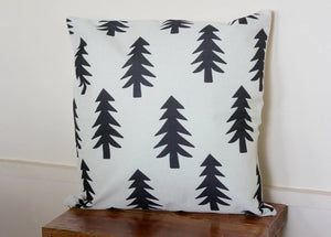 Tree Print Accent Pillow 18 x 18 Geometric Forest Woodland Nature Themed Nursery