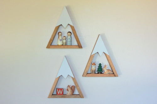 SET OF 3- SMALL Woodland Nursery Mountain Shelves Room Decor Snow Peak Mountain Forest Reclaimed Wood Triangle Geometric
