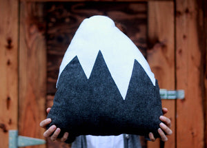 Gray, Mountain Pillow, Nursery Decor, Baby Boy, Holiday, Snowy Mountain, felt