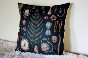 Forest Adventure Print Accent Pillow 18 x 18 Boys Room Woodland Nature Nursery