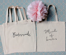 Set of 3 Bridesmaid Tote bags and 1 Maid of Honor