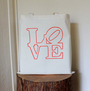 LOVE Tote Bag - Red Love Statue Wedding Welcome Bag