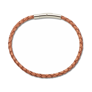 Copper Fine Leather Plaited Bracelet