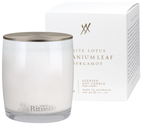 Alchemy White Lotus, Geranium Leaf & Bergamot Candle 400g