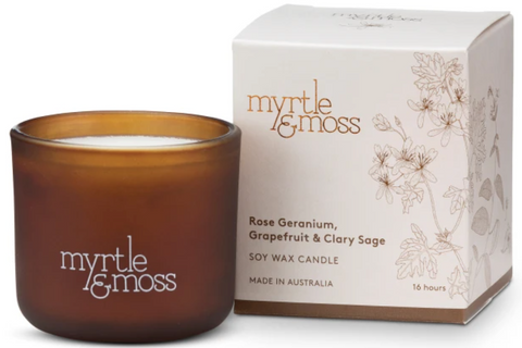 Rose Geranium, Grapefruit & Clary Sage Mini Candle 16hr