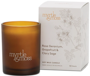 Rose Geranium, Grapefruit & Clary Sage Candle 50hr
